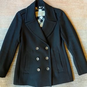 Burberry Brit Navy Blue Wool Peacoat Size 6